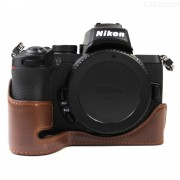 Bottom Opening PU Leather Half Cover for Nikon Z50 Camera