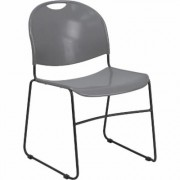 Flash Furniture Plastic Stack Chair with Sled Base - Gray w/ Black Frame, 19 1/2Inch W x 20 3/4Inch D x 31Inch H, Model