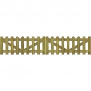 vidaXL Picket Fence Gate 2 pcs 300x60 cm FSC Impregnated Wood