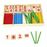SANNYSIS Child Wooden Numbers Mathematics Early Learning Counting Educational Toy