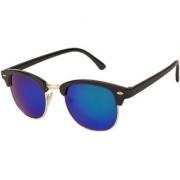 Arzonai Clubmaster Wayfarer Black-Green UV Protection Sunglasses For Men & Women |MA-094-S21|