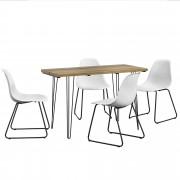 [en.casa] Mesa de comedor - apariencia de madera + Set de 4 x sillas - blanco - diseño - 82 x 46,5 x 56 cm
