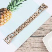 Rhinestone Decor Stainless Steel Watch Band Strap Replacement for Fitbit Versa / Versa Lite - Gold
