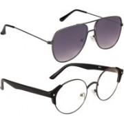 NuVew Round, Retro Square Sunglasses(Clear, Grey)