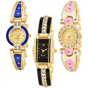 Varni REtail Gold Blue Round Gold Light PINK Oval Black Rectangle Middle Diamond Belt 3 Combo Watch For Girls
