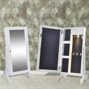 vidaXL Шкаф за бижута с огледало и LED светлини, бял цвят