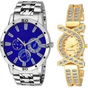 TRUE CHOICE BEST BLUE PR 3 AND GOLD QUEEN COUPLE COMBO WATCH.