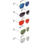 David Martin Aviator, Retro Square Sunglasses(Red, Green, Grey, Silver, Blue)
