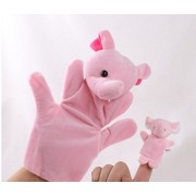 Kuhu Creations® Mother and Baby Story Telling Elephant (Pink) Hand & Finger Puppets