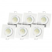 Luminea 6er-Set Einbaurahmen MR16, weiss, inkl. LED-Spotlights, 3W, 6500 K