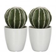 Shoppartners 2x groene Echinocactus bolcactus kunstplanten 28 cm met witte pot - Kunstplanten