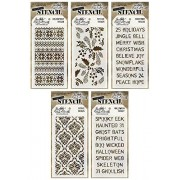 Tim Holtz Stencils Set - #26 to #30 - Gothic Layered, Halloween Layered, Holiday Knit Layered, Festive Layered & Christmas Layered - 5 Item Bundle