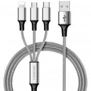 Yaomaisi Q14 1.2m Nylon Tejido 3 En 1 Micro USB + 8 Pin + C * Cable De Datos De Carga De SYN, Para IPhone, Galaxy, Huawei, Xiaomi, LG, HTC Y Otros Telefonos Inteligentes (plata)
