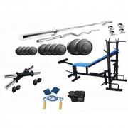 Protoner 34 Kgs PVC weight with 8 in 1 Bench home gym package