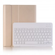 Detachable Bluetooth 3.0 Keyboard Leather Bracket Case with Pen Slot for iPad Pro 10.5-inch (2017) - Gold