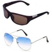 Barbarik Wrap-around, Aviator Sunglasses(Blue, Brown)