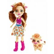 Mattel Enchantimals Curdle e Mucca Cailey con Amico Cucciolo
