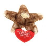 DolliBu Brown Sea Star I Love You Valentines Stuffed Animal - Heart Message 6.5 Inch Super Soft Plush (K5373 5999)