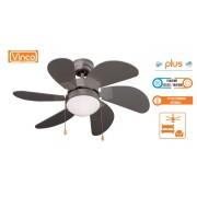 Agitatore / Ventilatore da soffitto con 6 pale in legno finitura Silver 1 lampada Vinco - 70914