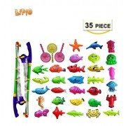 Lipio Colorful Tropical Fish Magnetic Floating Fishing Toy-30 Pcs Durable Plastic Fishes, 2 Pole And 3 Net-Learning Education Toys For Kids, Game Kids Party Favors