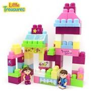 Little Treasures Building Block Castle 85 Piece Set - Compatible Stackable Big Blocks Parts Includes Boy Figure and a Girl Figure