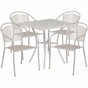 Flash Furniture 28Inch Square Metal Patio Table Set with 4 Round Back Chairs - Light Gray, Model CO28SQ03CHR4SV