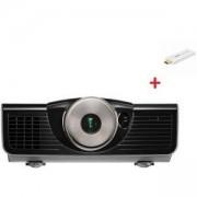 Мултимедиен проектор BenQ W7500,DLP,1080p,2000 ANSI Lum,60000:1,VGA,HDMI,RCA,3D,Black+Benq QCAST Mirror Projector QP20 White,9H.J8W77.18E_5A.JH328.10E