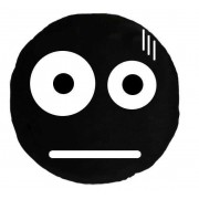 Soft Smiley Emoticon Black Round Cushion Pillow Stuffed Plush Toy Doll (Beaten)
