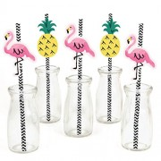 Flamingo - Party Like a Pineapple - Straw Decor with Paper Straws - Set of 24