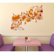 Wall Stickers Traditional Indian Classical Musical Instruments and Dancing Women Design Home Decor Vinyl