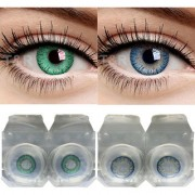 Soft Eye Blue And Turquoise Monthly Color Contact Lenses (Zero Power) with Free Lens Solution Lens Case