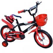 """Bicicleta pentru copii 14"""" cu roti ajutatoare si cos de depozitare din plastic, cadru otel John Speed"""