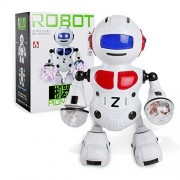 Intelligent Robot Littleice Electronic Walking Dancing Smart Space Robot Astronaut Kids Music Light Toys (Red)