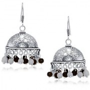 Spargz Classic Black White Bead Oxisidised Silver Long jhumka Earrings For Women AIER 657
