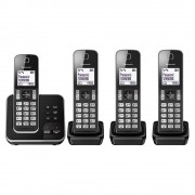 Panasonic KX-TGD324ALB Quad Cordless Phone System with Answering Machine