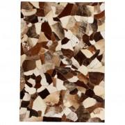 vidaXL Пачуърк килим от кожа, 160x230 см, кафяво/бяло