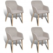 vidaXL Dining Chairs 4 pcs with Oak Frame Fabric