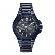 Guess Pánské hodinky s páskem z nerezové oceli v modré barvě Guess W0218G4