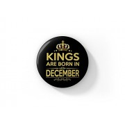 LASTWAVE December Badge |Kings are Born in December |Design 1 |Birthday Gifts for Boys, King, Men