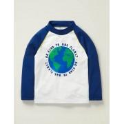 Mini Weiß/Tiefseeblau, Erde Nachhaltiges USF-Langarmshirt Damen Boden, 140 (9-10J), White