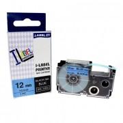 Banda compatibila Casio XR-12BU1, 12mm x 8m text negru / fundal albastru