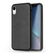 QIALINO Classic Litchi Texture Calf Skin Genuine Leather Coated PC Back Case for iPhone XR 6.1 inch - Black