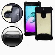 Samsung Galaxy S2 Plus I9105 Coque arrière façon cuir or gold contours en silicone gel anti-chocs by PH26®