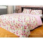 Set Cuvertura pat matlasata + 2 fete de perna CottonBox Alb/Roz Bumbac 100