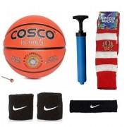 Cosco Hi-Grip Basketball (Size-5) with Air Pump Black Head Band Free Pair of Wrist Band Soccer Socks