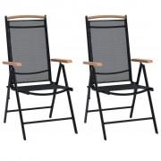 vidaXL Сгъваеми градински столове, 2 бр, черни, алуминий, 58x65x109 см