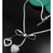 Colier placat argint pandantiv fundita cu inimioare