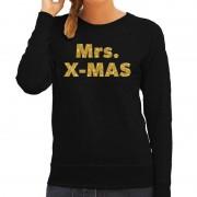 Bellatio Decorations Kersttrui Mrs. x-mas gouden glitter letters zwart dames L (40) - kerst truien