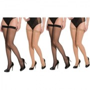 Neska Moda Women 4 Pair Nylon Black And Skin Thigh Highs Stockings STK1andSTK2 2Seteach