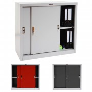 Aktenschrank Valberg T333, Metallschrank Büroschrank Stahlschrank, 2 Schiebetüren 83x91x46cm, grau ~ Variantenangebot
